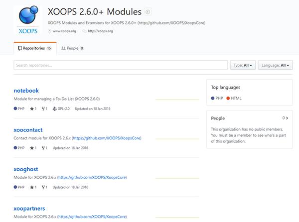 GitHub XOOPS Modules 2.6.x